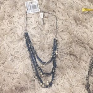 Old Navy Mixed Media Necklace with Denim